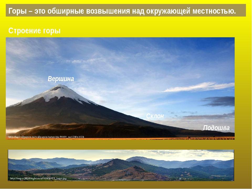 Горы – это обширные возвышения над окружающей местностью. Вершина Склон Подош...