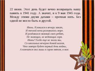 22 июня. Этот день будет вечно возвращать нашу память к 1941 году. А значит,