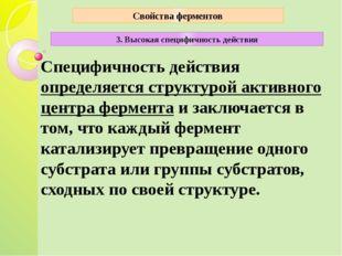 Специфичность действия определяется структурой активного центра фермента и за