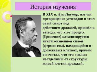 В XIXв.Луи Пастер, изучая превращениеуглеводоввэтиловый спиртпод дейст