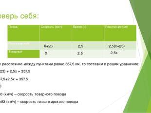 Проверь себя: Х+23 Х 2,5 2,5 2,5(х+23) 2,5х Так как расстояние между пунктами