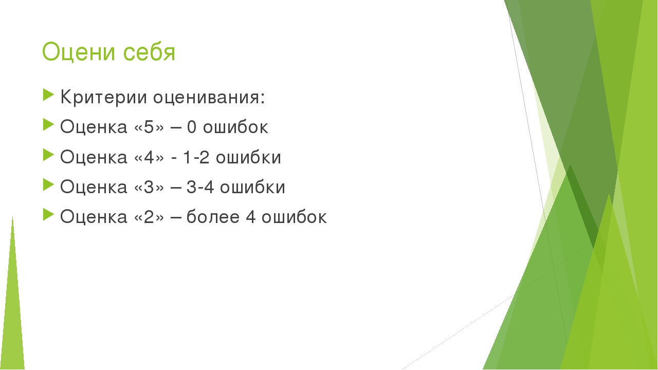 Оцени себя Критерии оценивания: Оценка «5» – 0 ошибок Оценка «4» - 1-2 ошибки...