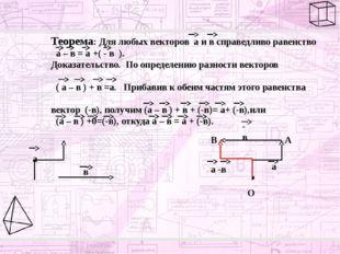 Теорема: Для любых векторов а и в справедливо равенство а – в = а +( - в ). Д