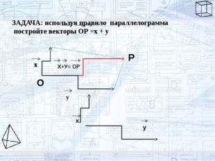 ЗАДАЧА: используя правило параллелограмма постройте векторы ОР =х + у Х+У= ОР