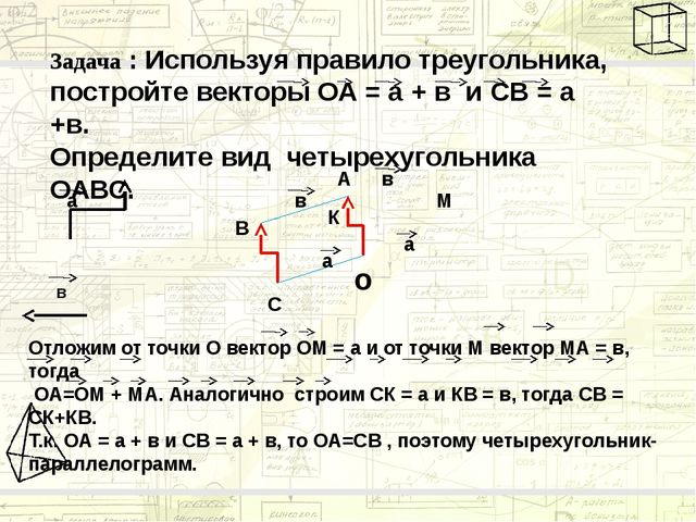 Задача : Используя правило треугольника, постройте векторы ОА = а + в и CВ =...