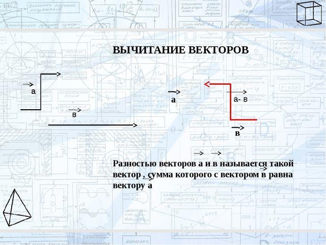 ВЫЧИТАНИЕ ВЕКТОРОВ а в а- в Разностью векторов а и в называется такой вектор...
