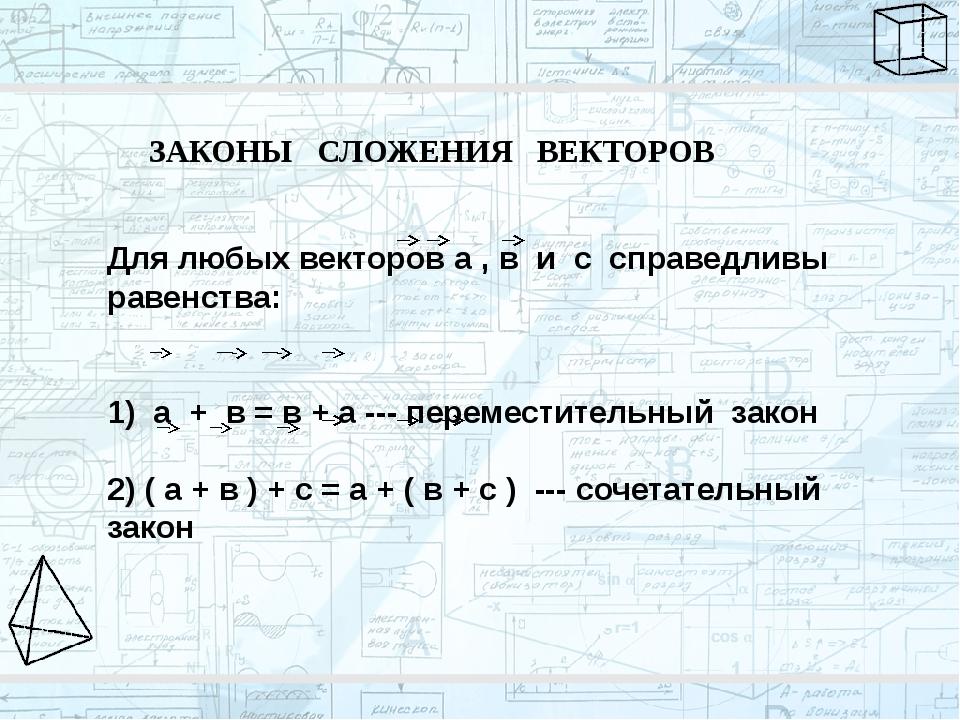 ЗАКОНЫ СЛОЖЕНИЯ ВЕКТОРОВ Для любых векторов а , в и с справедливы равенства:...