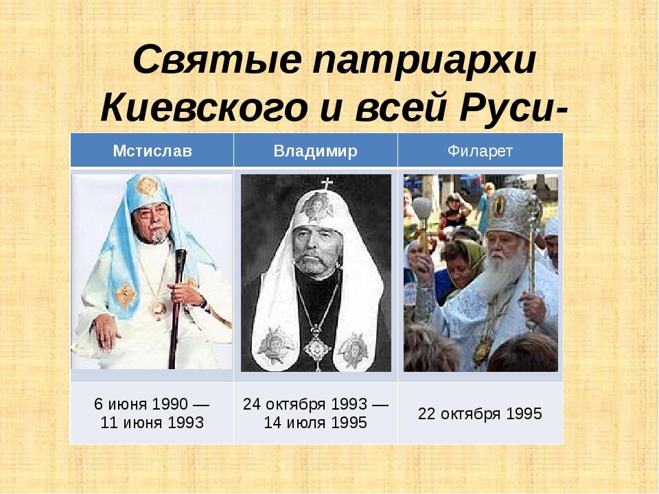 Святые патриархи Киевского и всей Руси-Украины Мстислав Владимир Филарет 6июн...