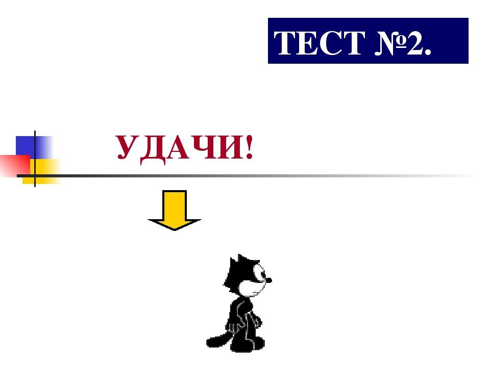 ТЕСТ №2. УДАЧИ!