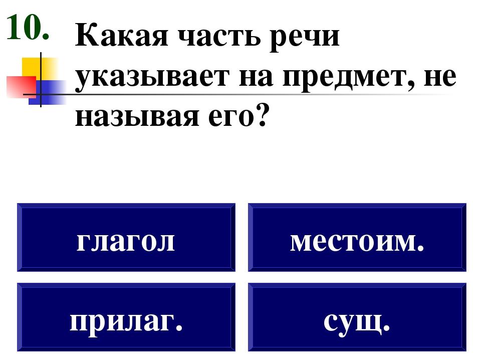 Какая часть речи указывает на предмет, не называя его? прилаг. глагол местоим...