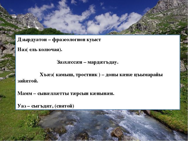 Дзырдуатон – фразеологион куыст Наз( ель колючая). Зазхӕссӕн – мардӕгъдау. Хъ...