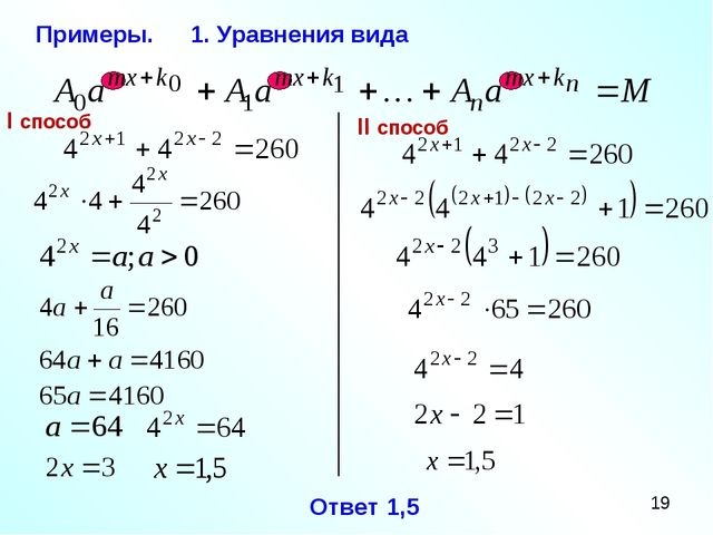 Примеры. 1. Уравнения вида I способ II способ Ответ 1,5