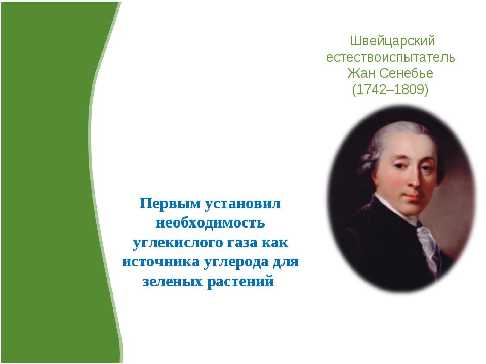 Швейцарский естествоиспытатель Жан Сенебье (1742–1809) Первым установил необх...