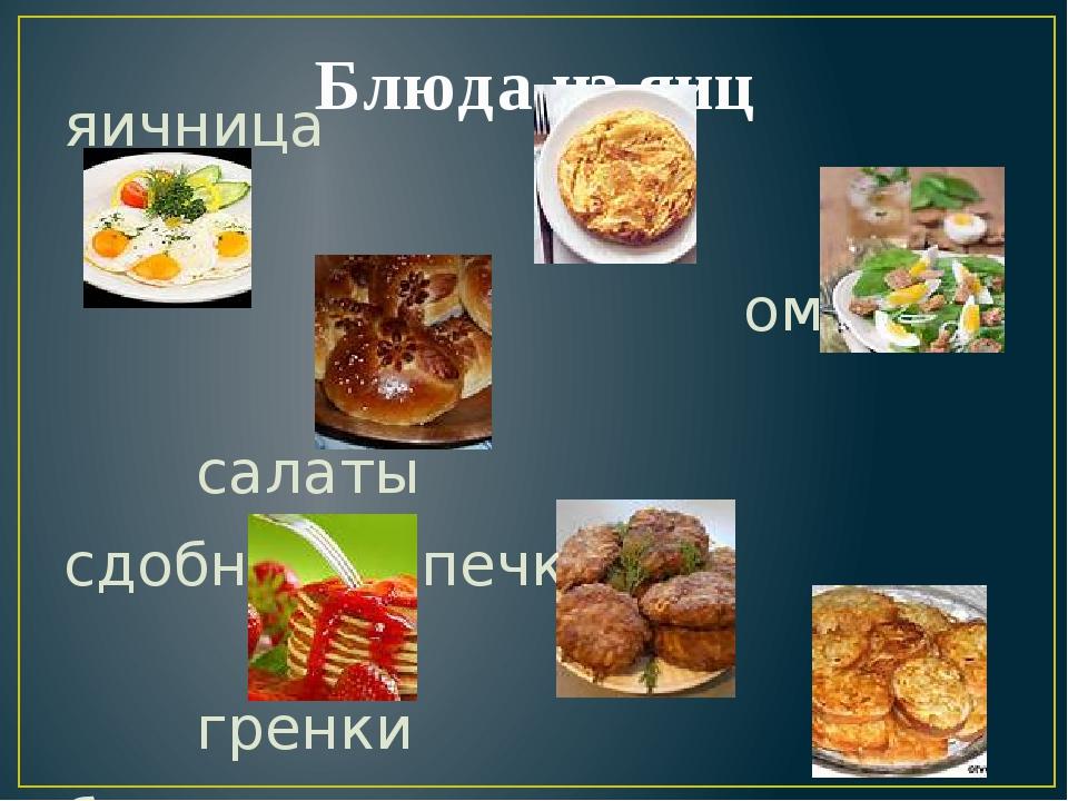 Блюда из яиц яичница омлет салаты сдобная выпечка гренки блины котлеты