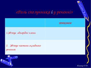«Роль сполучника і у реченні» Яненко О.Д.  ПРИКЛАДИ Зв'язує однорідні члени