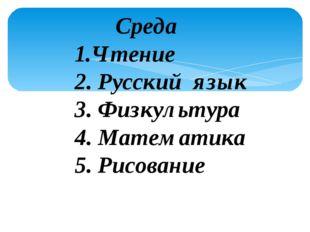 Среда 1.Чтение 2. Русский язык 3. Физкультура 4. Математика 5. Рисование