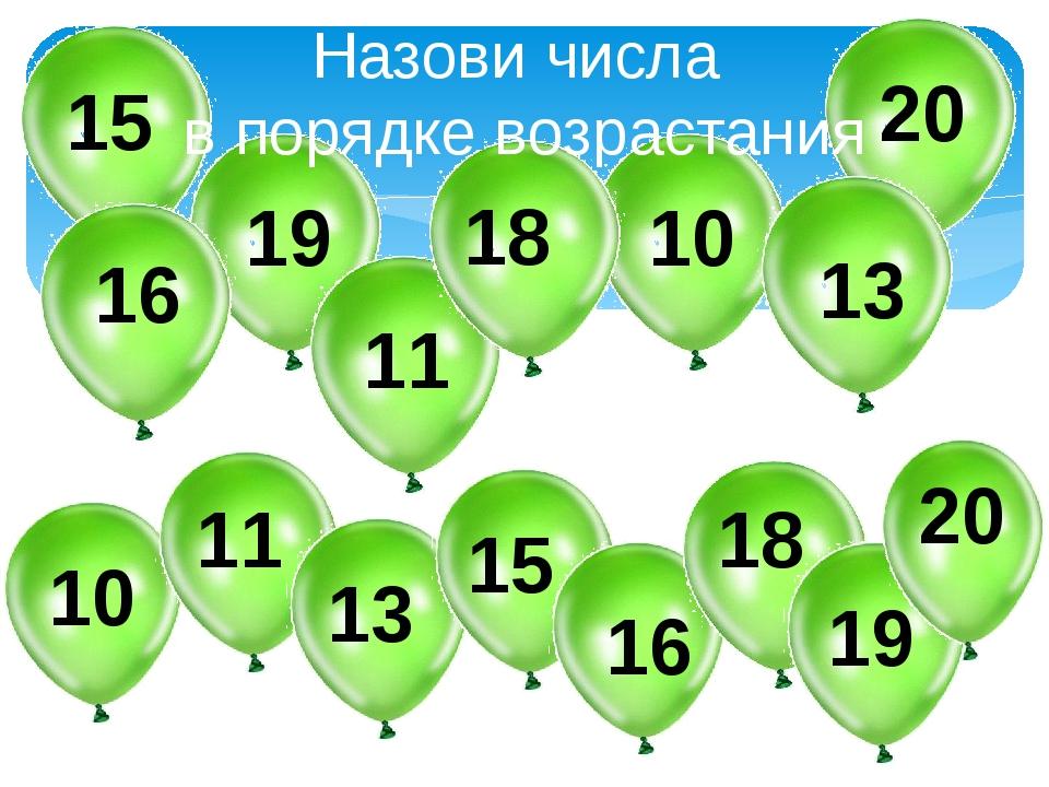 Назови числа в порядке возрастания 19 15 11 18 10 13 16 20 10 11 13 15 16 18...