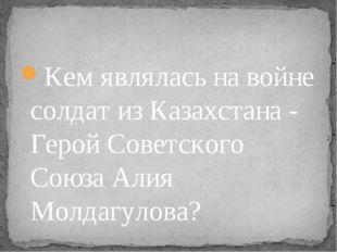 Кем являлась на войне солдат из Казахстана - Герой Советского Союза Алия Молд