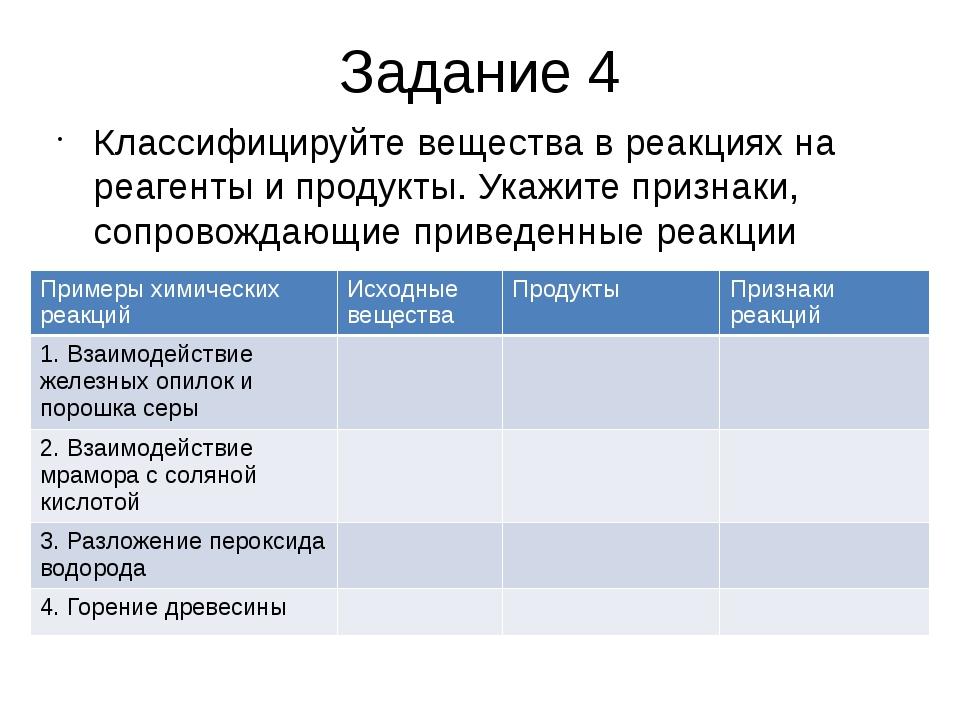 Задание 4 Классифицируйте вещества в реакциях на реагенты и продукты. Укажите...