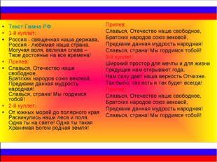 Текст Гимна РФ 1-й куплет: Россия - священная наша держава, Россия - любимая