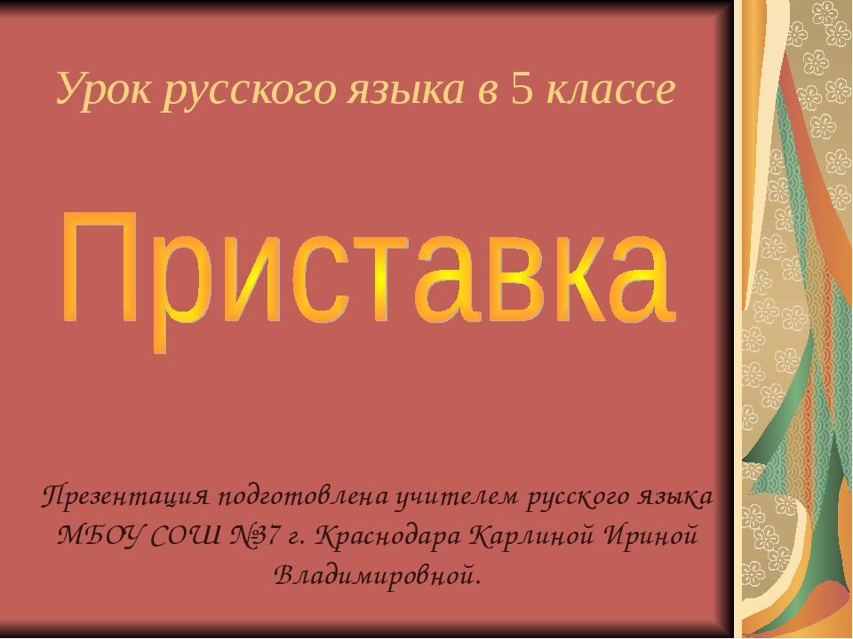 Урок русского языка в 5 классе   Презентация подготовлена учителем русског...