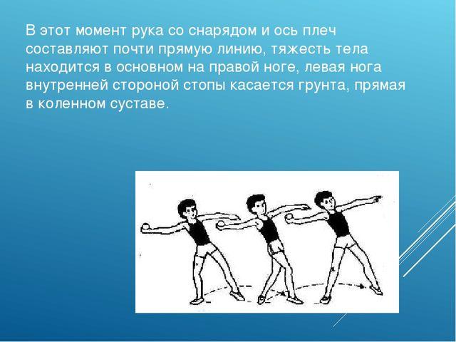 В этот момент рука со снарядом и ось плеч составляют почти прямую линию, тяже...