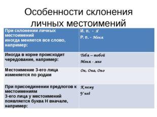 Особенности склонения личных местоимений При склонении личных местоимений ино
