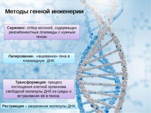 Скрининг- отбор колоний, содержащих рекомбинантные плазмиды с нужным геном. Т