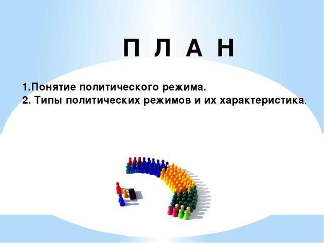 П Л А Н 1.Понятие политического режима. 2. Типы политических режимов и их хар...