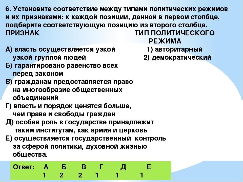 6. Установите соответствие между типами политических режимов и их признаками:...