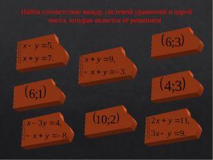 Найти соответствие между системой уравнений и парой чисел, которая является