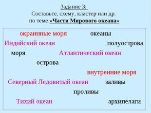 Задание 3: Составьте, схему, кластер или др. по теме «Части Мирового океана»