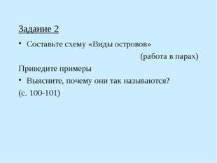 Задание 2 Составьте схему «Виды островов» (работа в парах) Приведите примеры