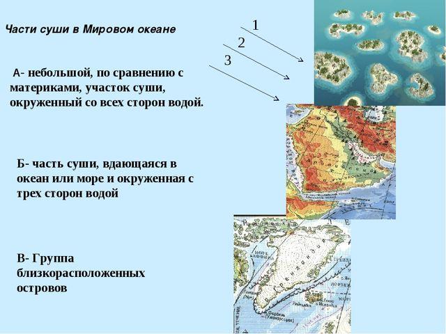 Части суши в Мировом океане А- небольшой, по сравнению с материками, участок...