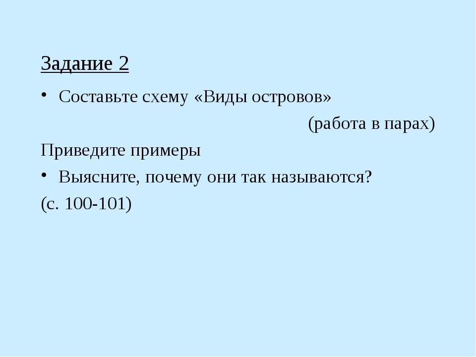 Задание 2 Составьте схему «Виды островов» (работа в парах) Приведите примеры...