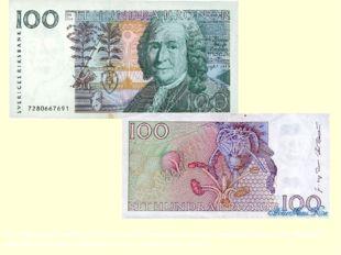 На современной шведской 100-кроновой банкноте помещён портрет Линнея. На обра