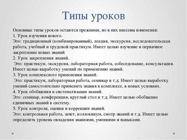 Типы уроков Основные типы уроков остаются прежними, но в них внесены изменени...