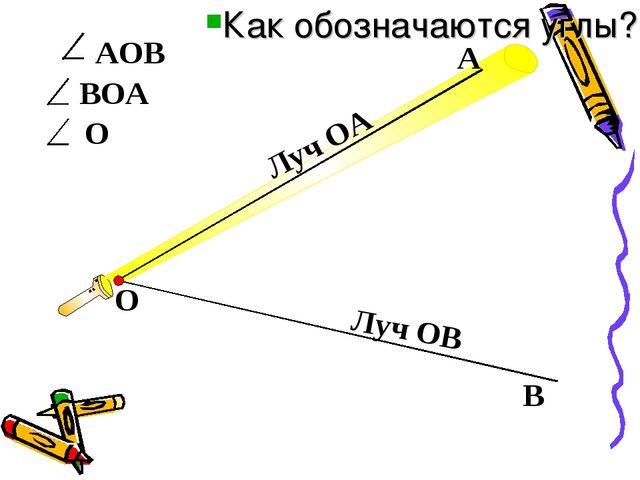 АОВ О В ВОА А О Луч ОА Луч ОВ Как обозначаются углы?