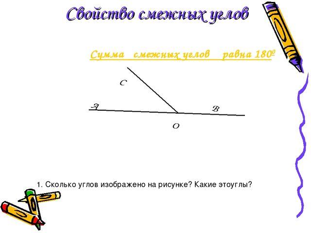 Сумма смежных углов равна 1800 Cвойство смежных углов 1. Сколько углов изобр...