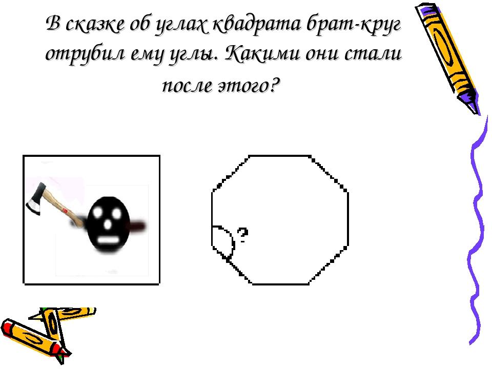 В сказке об углах квадрата брат-круг отрубил ему углы. Какими они стали после...