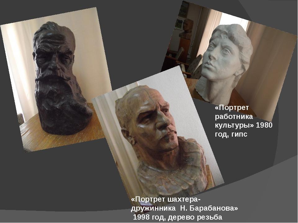 «Думы старого партизана» 1970 год, дерево, резьба, тонировка «Портрет шахтер...