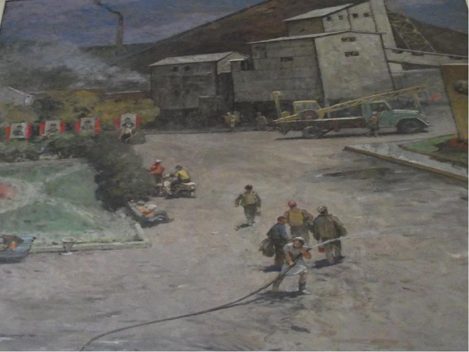 «На шахтном дворе» 1984-1985, холст, масло. Вольштейн М.Л.(1916-2000) Фильбе...