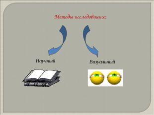 Методы исследования: Научный Визуальный
