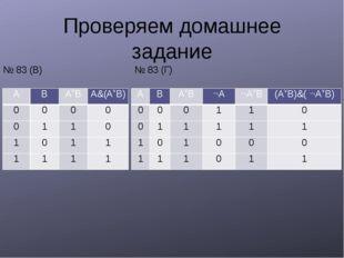 Проверяем домашнее задание № 83 (В) № 83 (Г) A B AB A&(AB) 0 0 0 0 0 1 1 0