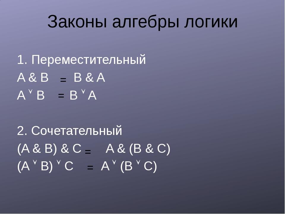 Законы алгебры логики 1. Переместительный A & B B & A A  B B  A 2. Сочетате...