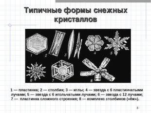 * Типичные формы снежных  кристаллов 1 — пластинка; 2 — столбик; 3 — иглы;