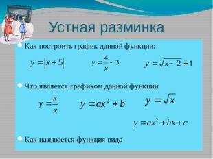 Устная разминка Как построить график данной функции: Что является графиком да