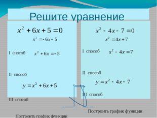 Решите уравнение I способ II способ III способ Построить график функции I спо
