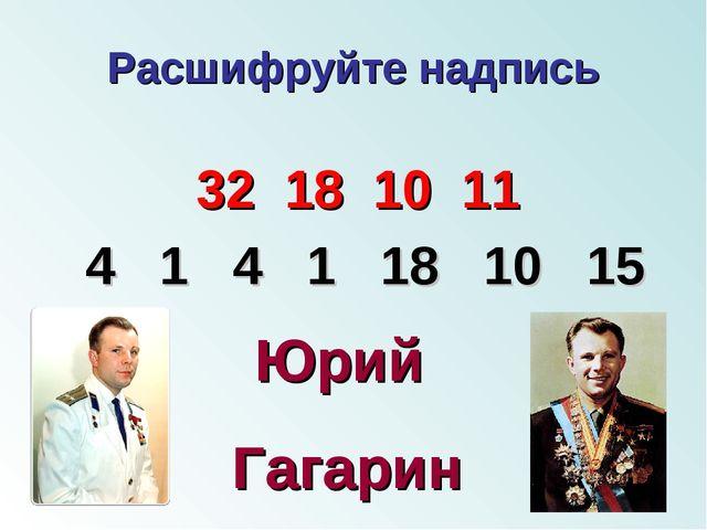 Расшифруйте надпись 32 18 10 11 4 1 4 1 18 10 15 Юрий Гагарин