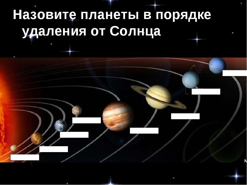 Назовите планеты в порядке удаления от Солнца